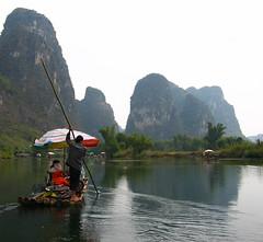 Bamboo Rafting in Yangshuo (Life in AsiaNZ) Tags: china mountains canon landscape asia guilin yangshuo chinese bamboo powershot ixus rafting   karst guangxi         lifeinnanning flickrgiants