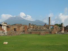 Pompeii Forum with Mt. Vesuvius in the background - by ssalomons