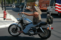 Senior biker at Key West (dumell) Tags: summer usa motion bird beard warm florida flag sunny springbreak chrome barefoot biker keywest starsandstripes floridakeys starsstripes