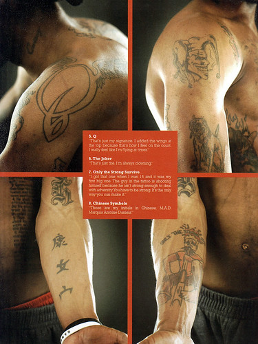 Daniels is noted for having several tattoos inscribed on different parts of