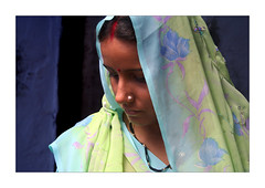 Sensibility (Elishams) Tags: blue portrait woman india asia veil indian traditional culture varanasi hindu indianarchive kashi banaras benares travelstory theface uttarpradesh  50millionmissing