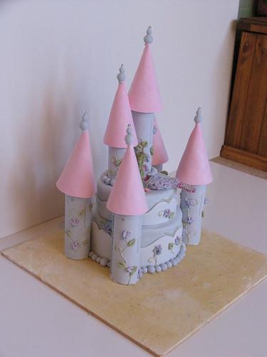 castle cake with mermaid figurine