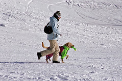 He and his dog (manganite) Tags: winter people snow men film dogs fashion animals japan asian japanese asia seasons minolta tl candid style fancy  nippon nagano nihon stylish shigakogen march20 7000 march202006 manganite date:year=2006 date:month=march