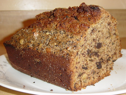 coffee banana bread with chocolate and nuts