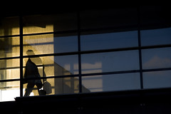Working day over (Ndesh) Tags: shadow sun window glass silhouette businessman walking denmark transport busy commuting suitcase stress