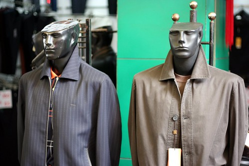 You find some rather interesting mannequins in the Yichang clothes market. Here is the classic mannequins-with-chopped-heads variety.