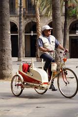 riding the dog (photonattractor) Tags: barcelona dog man bike bicyclewithsidecar