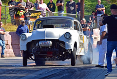 White Lightning (Thumpr455) Tags: southeastgassers finals greerdragway greer sc november 2016 dragracing autoracing car auto automobile speed competition action whitelightning chevy chevrolet moonshiner 1953 joshowens burnout afnikkor70200mmf28vrii d5500 nikon