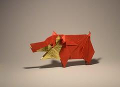 Pig (madiyar.amerkeshev) Tags: origami animal pig origamipig cerdo оригамисвинья art sculpture madiyaramerkeshev