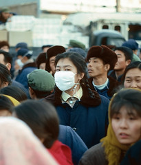 Beijing, January 1977 (David Stephensen) Tags: china woman face mask crowd beijing 1977 mostfavourited 5starfromcngirlpool