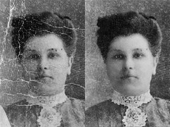 Cloclo's great-grandmother (PaulPosition) Tags: oldphotos retouch restoration before after beforeandafter