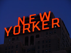 [2005] New Yorker Hotel's Sign... (Diego3336) Tags: nyc newyorkcity windows light urban usa ny newyork building window sign skyline night skyscraper logo dawn hotel twilight lowlight neon nightshot dusk manhattan newyorker