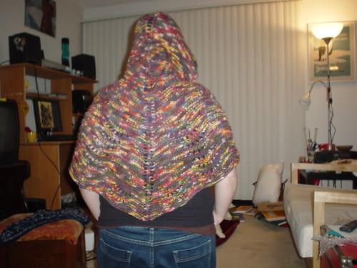 shawl, hood up