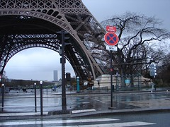 Eiffel Tower in rain and wind, Paris