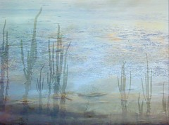 Sea of Sky with Candles (MaureenShaughnessy) Tags: trees winter sky lake cold ice nature colors 510fav forest photoshop woodland landscape frozen montana seasons dusk availablelight roots reservoir lakeshore myart helena thebigsky photographicimpressionism mutedcolors naturalworld muted 4seasons mutedcolor subtlecolors coldseason thenaturalworld seasonalrhythmswinter