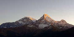 Annapurna South sunrise, Poon Hill (Dey) Tags: annapurnasouth annapurna hiunchuli mountain sunrise dawn daybreak morning poonhill annapurnacircuit trek trekking nepal himalayas