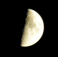 Moon Over East 2nd Street (Barbara L. Hanson) Tags: moon sky lower east side nyc new york city gold black craters man half shadow dark nikon 8800 coolpix