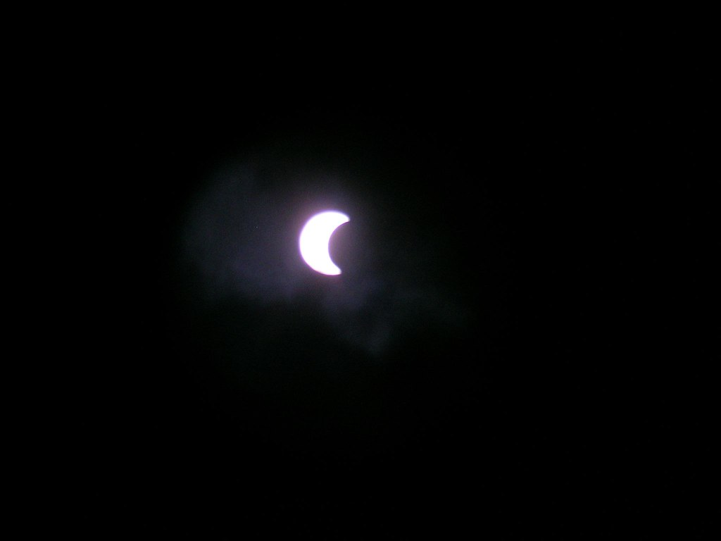 Partial solar eclipse from binoculars