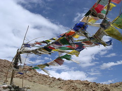 Prayer Flags (Eileen Delhi) Tags: india asia ladakh prayerflags skyandclouds wind motion mountain buddhism catchycolors sky clouds alternativeangles postcard