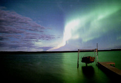 aurora during a full moon (Marlis1) Tags: lake canada reflection wow aurora prairies 100vistas