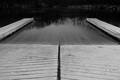 Boat Ramp (aprevite) Tags: longexposure winter bw white lake black cold tree water night frozen illegal tamron trespassing metropark aprevit
