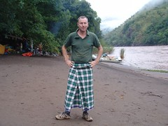 Charles with sarong (CharlesFred) Tags: africa green expedition nature river october african south 2006 rafting remote ethiopia omo omoriver southernethiopia raftingexpedition remoteriver remoteriverexpeditions