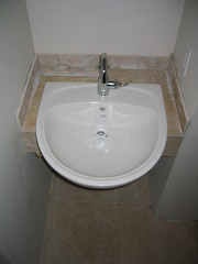 Guest bathroom sink (femme_makita) Tags: house sink remodel prm femmemakita travetine