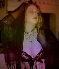 Casbah (AzRedHeadedBrat) Tags: arizona portrait woman black me digital scarf self hair photography breasts veil dancing tucson coins bare curves bra longhair middleeast curls bellydancer curvy redhead curly bellydance amateur bellydancing closedeyes tassles longhaired voluptuous ample rubenesque azredheadedbrat sharleneshappart icanseeupyournose