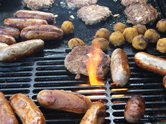 BBQ (KiwiNessie) Tags: newzealand food cooking topv111 horizontal digital geotagged fire topv333 unfound meat barbecue sausages pointshoot patties unedited flickrmission fujifinepixs5500 flickrmission6 geo:tool=gmif geo:lat=40226925 geo:lon=175557253