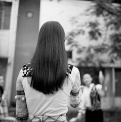 Xiec Hanoi (birdcage) Tags: blackandwhite bw mediumformat hair circus vietnam practice hanoi performers yashicamatlm jugglers xiec