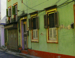 Enchanting House (DWinton) Tags: orange india house green yellow purple swastika kolkata calcutta