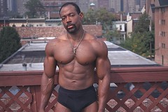 Black Calvins (kchbrown) Tags: male topf25 pecs pose necklace underwear boots muscle bodybuilding africanamerican blackmale calvins physique flexing lats
