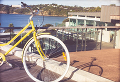downtown (Sun Spiral) Tags: newzealand bike yellow northisland aotearoa waihekeisland
