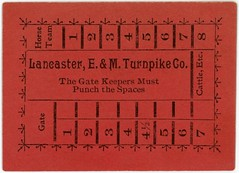 Lancaster, Elizabethtown, and Middletown Turnpike Company Ticket (Alan Mays) Tags: ephemera turnpiketickets tolltickets tickets tolls punchcards cards punches paper printed lancasterelizabethtownandmiddletownturnpikecompany turnpikecompanies companies turnpikes roads tollroads gatekeepers gates horses horseteams cattle route230 pennsylvaniaroute230 paroute230 route283 pennsylvaniaroute283 paroute283 lancaster elizabethtown pa lancastercounty pennsylvania middletown dauphincounty antique old vintage typefaces type typography fonts