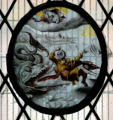 Shrewsbury, Shropshire, St. Mary the Virgin, vestry, roundels, Old Testament:  Jonah (groenling) Tags: uk greatbritain england window shropshire britain stainedglass shrewsbury gb whale jonah roundel vestry cct stmarythevirgin