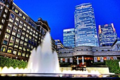 Canary Wharf & The Fountain (mrbuckley1986) Tags: city longexposure nightphotography urban london skyline skyscraper canon lens eos exposure skyscrapers tripod landmarks sigma landmark handheld docklands manual dslr canarywharf tamron lenses urbanskyline londonskyline canadasquare capitalcity manualmode hsbcbuilding londonbuildings avmode tvmode canon700d canonefs1855stm
