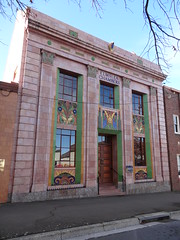 Goulburn. City of wonderful old buildings. Art Deco inGoulburn with ceramic colourful tiles. Elmsea Chambers for local solicitors. Architect was L P Burns. Built in 1936 in Egyptian style. (denisbin) Tags: building cranes tiles egyptian classical artdeco ram goulburn pilasters egyptianstyle