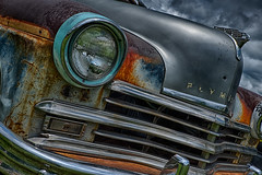 3 image HDR road rocket rumble indianapolis (curt4000) Tags: light red usa brown detail green lines car closeup truck rust ship plymouth grill chrome sail vehicle headlight
