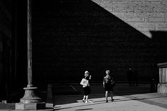 Looking back (Olderhvit) Tags: street light shadow blackandwhite photography sweden geometry gothenburg streetphotography streetphoto goteborg 2015 gatufoto gatufotografi img9000 framingthestreet olderhvit
