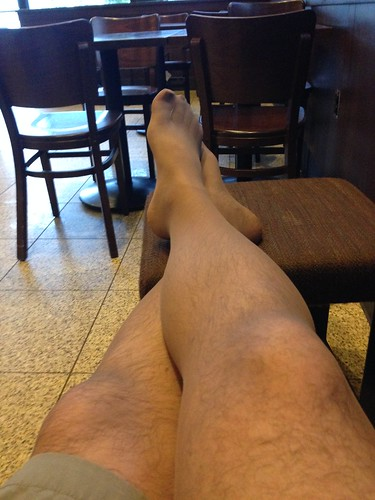 Pantyhose legs at Starbucks