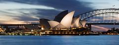 Opera House (onetwosnapshot) Tags: bridge sunset sky house night lights opera harbour sydney