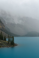 Rain on Moraine, Banff National Park (synaesthesia24) Tags: summer lake canada mountains nature rain clouds landscape alberta banff moraine banffnationalpark parkscanada valleyofthetenpeaks rockflour glacialflour