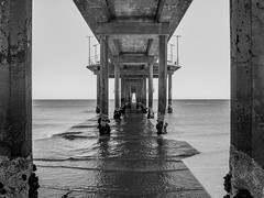 Brighton Jetty (Anthony's Olympus Adventures) Tags: adelaide southaustralia sa australia beach water ocean sand shore jetty pier angle line shape perspective view lines symmetry horizon sky blackandwhite blackwhite grayscale mono monochrome olympusem10 olympus olympusomd photo photography lightroom flickr