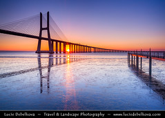 Portugal - Lisbon - Lisboa - Ponte Vasco da Gama at Rio Tejo at Sunrise (© Lucie Debelkova / www.luciedebelkova.com) Tags: pontevascodagama riotejo lisbon lisboa portugal world exploration trip vacation holiday place destination location journey tour touring tourism tourist travel traveling visit visiting sight sightseeing wonderful fantastic awesome stunning beautiful breathtaking incredible lovely nice best perfect wwwluciedebelkovacom luciedebelkova luciedebelkovaphotography sea landscape ocean water