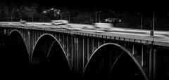 Life In The Fast Lane (pi dimension) Tags: pavel ivanov freeway bridge los angeles pasadena black white monochrome speed blur canon
