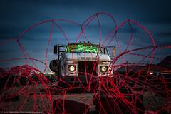 Quarantine (dejavue.us) Tags: lightpainting longexposure vle nightphotography nikon desert d800 180350mmf3545 truck mojavedesert fullmoon barbedwire nikkor abandoned california clouds