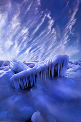 Iced Blue (Phil~Koch) Tags: clouds travel journey life mood emotions country outdoors colors living heaven weather horizons sunrise lines landscape sun light field art meadow sky twilight horizon beam ray sunset wisconsin scenic vertical photography blue yellow office portrait serene morning dawn nature natural earth environment inspired inspirational season beautiful peace hope love joy dramatic unity trending popular canon camera rural fineart arts shadows winter snow ice icicle