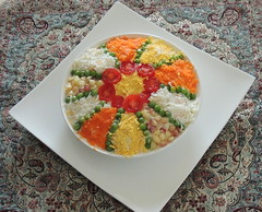 Beautifully decorated olivieh Iranian potato salad (Germán Vogel) Tags: asia westasia centralasia middleeast iran islamicrepublic travel traveldestinations traveltourism iranian iranianculture middleeastculture traditional typical food dish delicious tasty salad potato olivieh potatosalad decoration fooddecoration beautiful colorful cuisine indoor