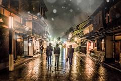 Old Kyoto (Dmitry_Pimenov) Tags: gion kyoto japan snow rain winter travel trip old architecture street buildings city cityscape night dark weather asia beautiful lights light dipimenov dmitrypimenov olympus япония киото