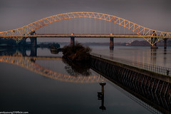 Runcorn Bridge (1 of 1) (andyyoung37) Tags: manchestershipcanal reflections runcorn runcornbridge uk cheshire rivermersey sunrise